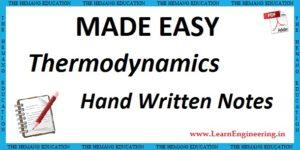 Made Easy Academy Basic Thermodynamics Handwritten Notes