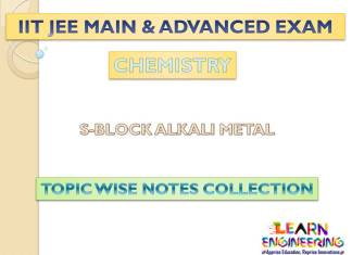 Alkali Metal (Chemistry) Notes for IIT-JEE Exam