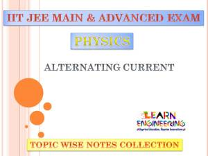 Alternative Current (Physics) Notes for IIT-JEE Exam