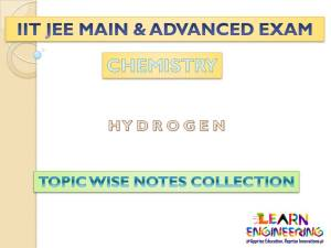 Hydrogen (Chemistry) Notes for IIT-JEE Exam