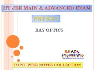 Ray Optics (Physics) Notes for IIT-JEE Exam