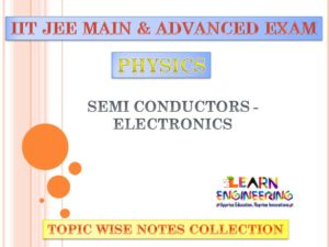 Semi Conductors - Electronics (Physics) Notes for IIT-JEE Exam