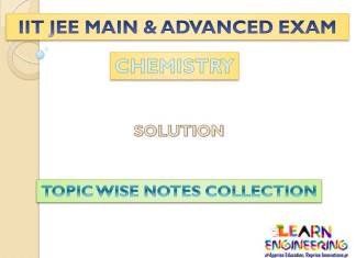 Solution (Chemistry) Notes for IIT-JEE Exam