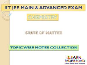 State of Matter (Chemistry) Notes for IIT-JEE Exam
