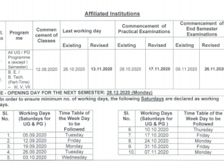 Anna University Extension of Last working date