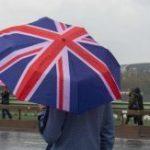 union jack umbrella, rainy Britain, rain, UK, lernenglishontheinternet