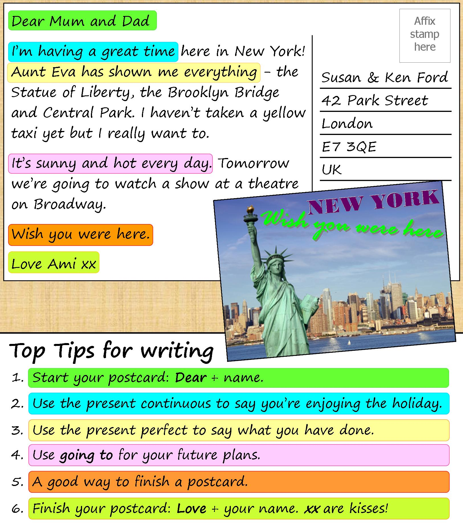 How To Write A Postcard Examples Divino English