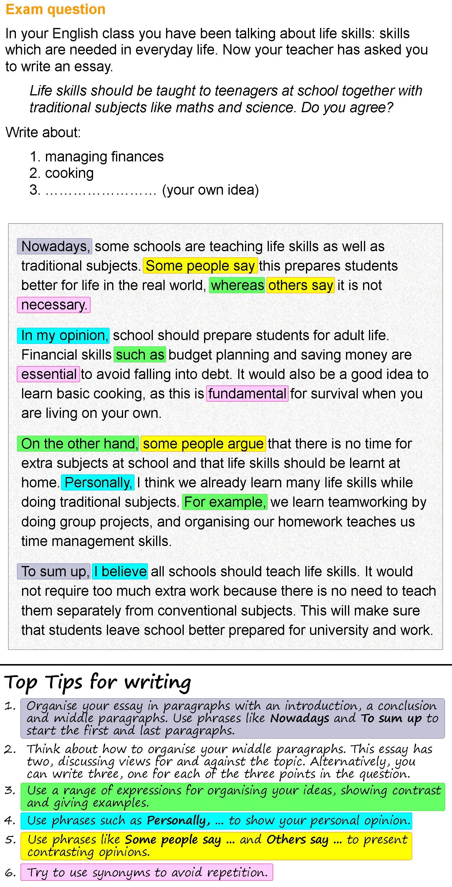 Life Skills Essay Learnenglish Teens