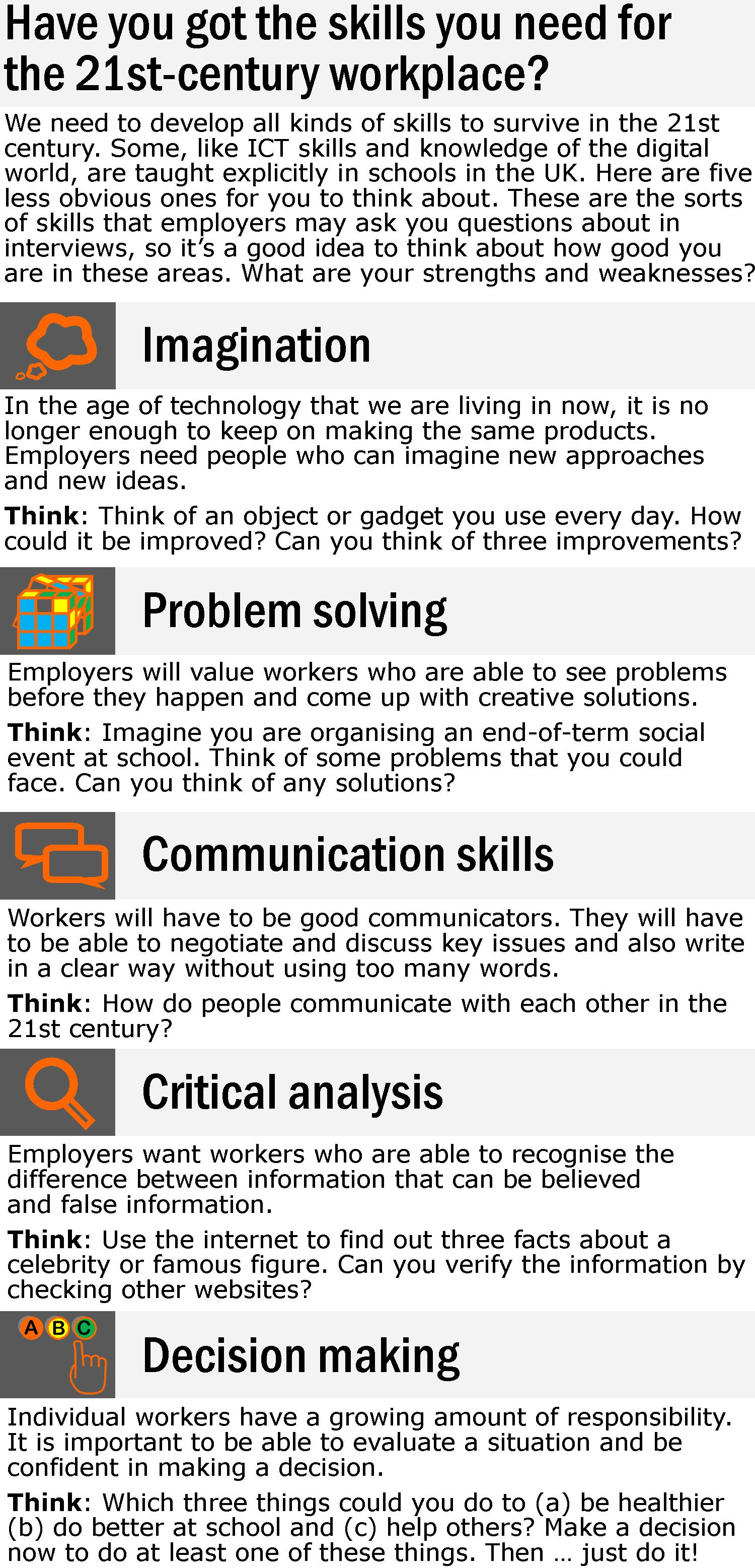 Skills For The 21st Century Workplace Learnenglish Teens