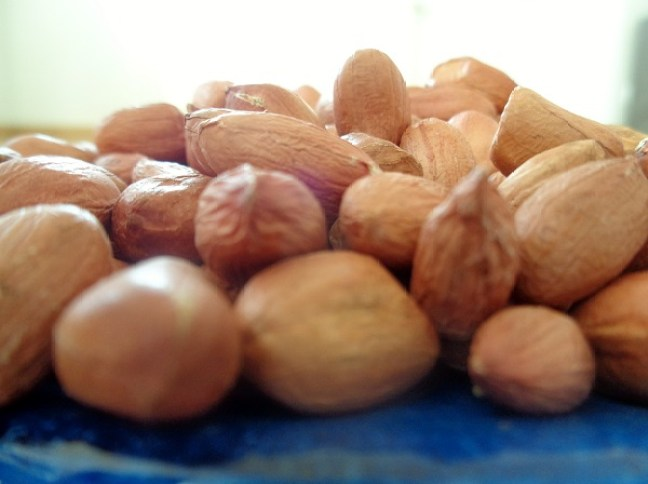 A close-up photograph of groundnuts in a blue plate
