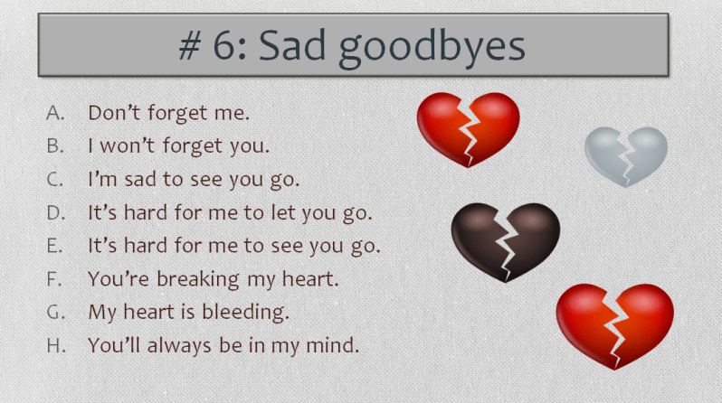 English Worksheet, Sad goodbyes!, Learn English With Africa, 2016