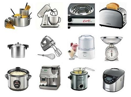 vocabulary to describe small kitchen appliances and equipment featured