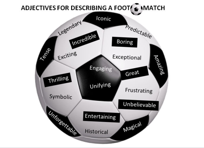 describing a football game Click on the words in the right order to make a sentence check your score and speed at the end of the game.