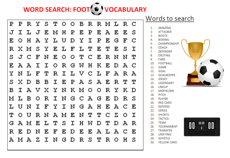 football vocabulary wordsearch quiz and worksheets learn english with africa. Black Bedroom Furniture Sets. Home Design Ideas