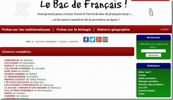 réviser le bac de français sur le web