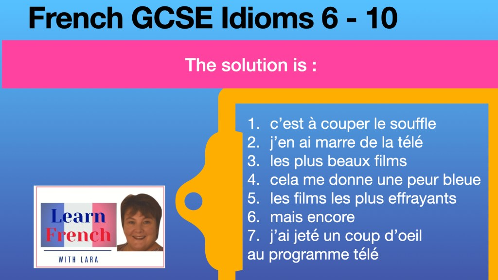 French GCSE Idiom translation correction