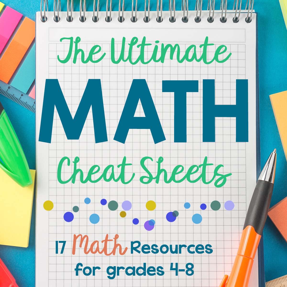 Math Cheat Sheet Free Homeschool Math Resource For Grades 4 8