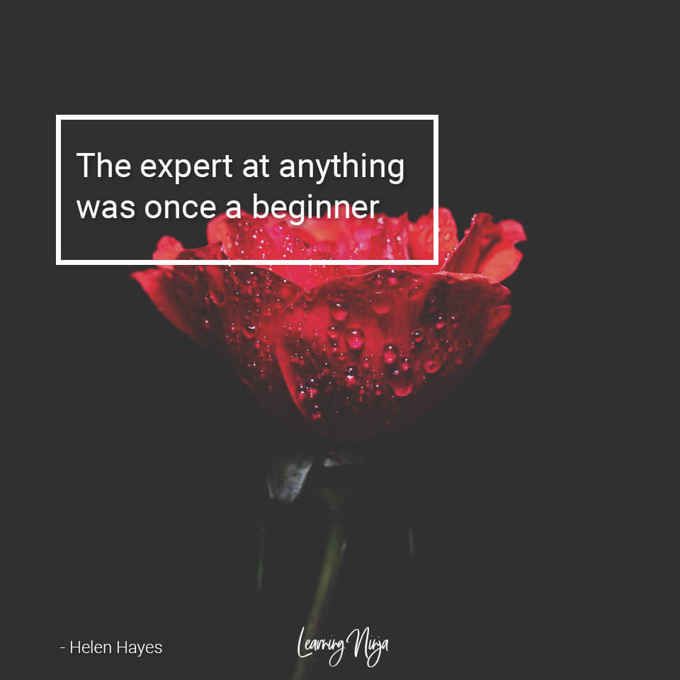 The expert at anything was once a beginner. Helen Hayes