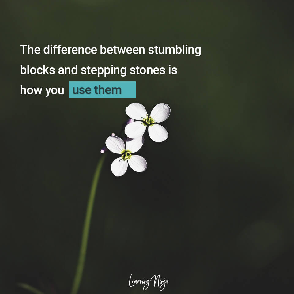 Mindset Ninja QuotesMindset Ninja Quotes difference between stumbling blocks and stepping tones is how you use them