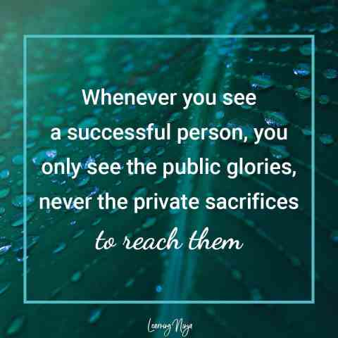 Mindset Ninja Quotes: Whenever you see a successful person, you only see the public glories, never the private sacrifices to reach them