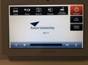 ABS 2.10/L4 touch panel with [Link Rooms] button