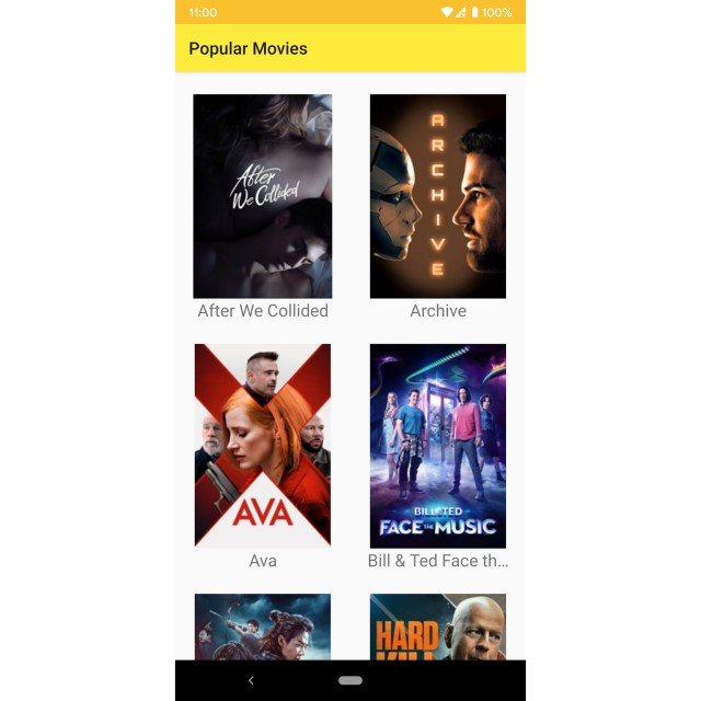 Figure 13.4: The app with the year's popular movies sorted by title