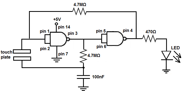 How To Build A Touch On-Off Circuit With A 4011 NAND Gate Chip