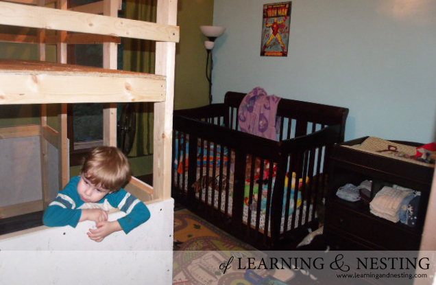 Evan loved his new toddler loft right away!