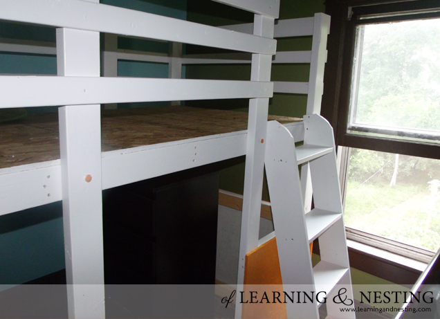 A customized toddler loft using plans from Ana White as a starting point.