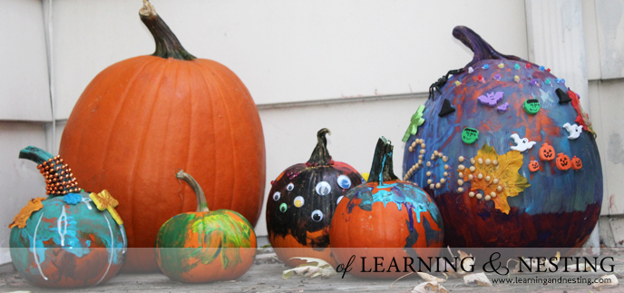 One of our favorite Halloween traditions is decorating pumpkins!