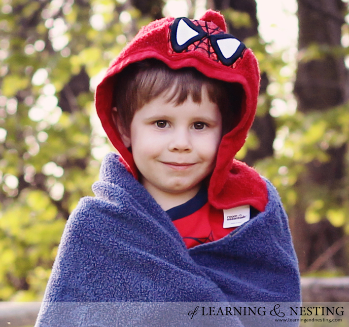 Life's a Beach - Spiderman Towel from Oh Sew Laura - of Learning and Nesting