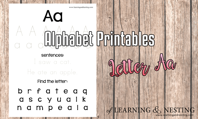 photograph regarding Na Basic Text Printable named Uncomplicated Alphabet Printables - The Letter A - Of Mastering and