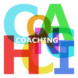 Coaching - abstract color text on white