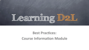 Best Practices -- Course Information Module 640