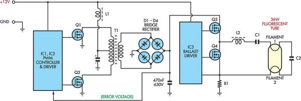 12V Flourescent Lamp Inverter Circuit Diagram