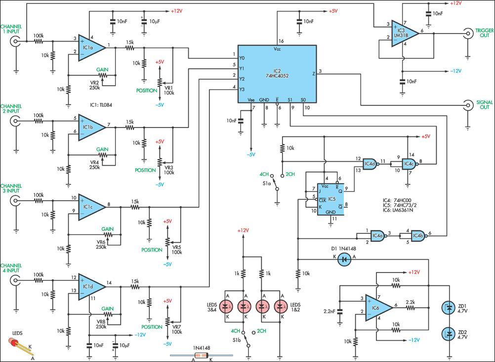 Four-Channel Oscilloscope Adaptor Circuit Diagram
