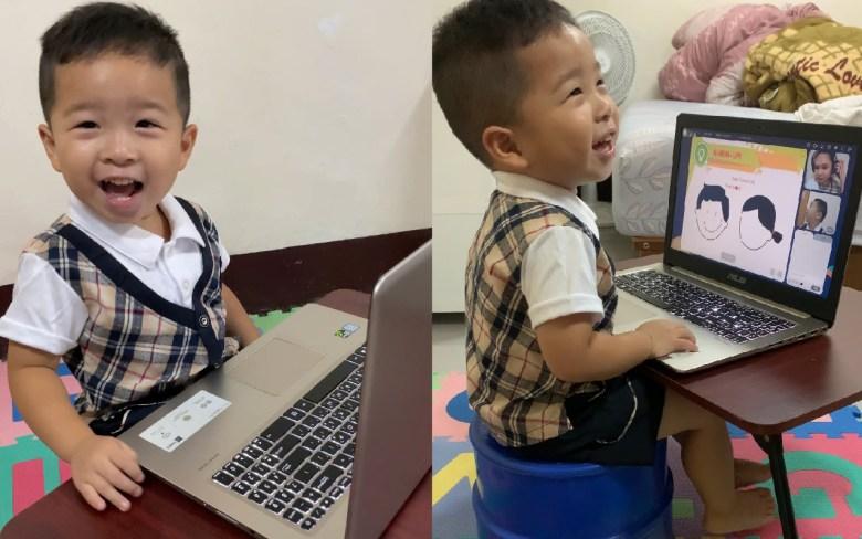 第一次讓東東體驗線上學習,他非常開心