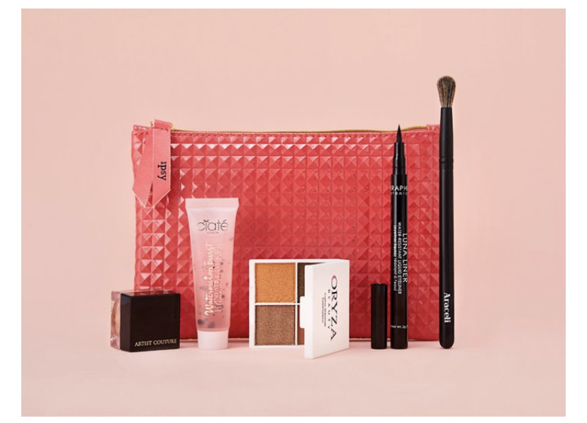 IPSY makeup bag filled with makeup and skin care goodies