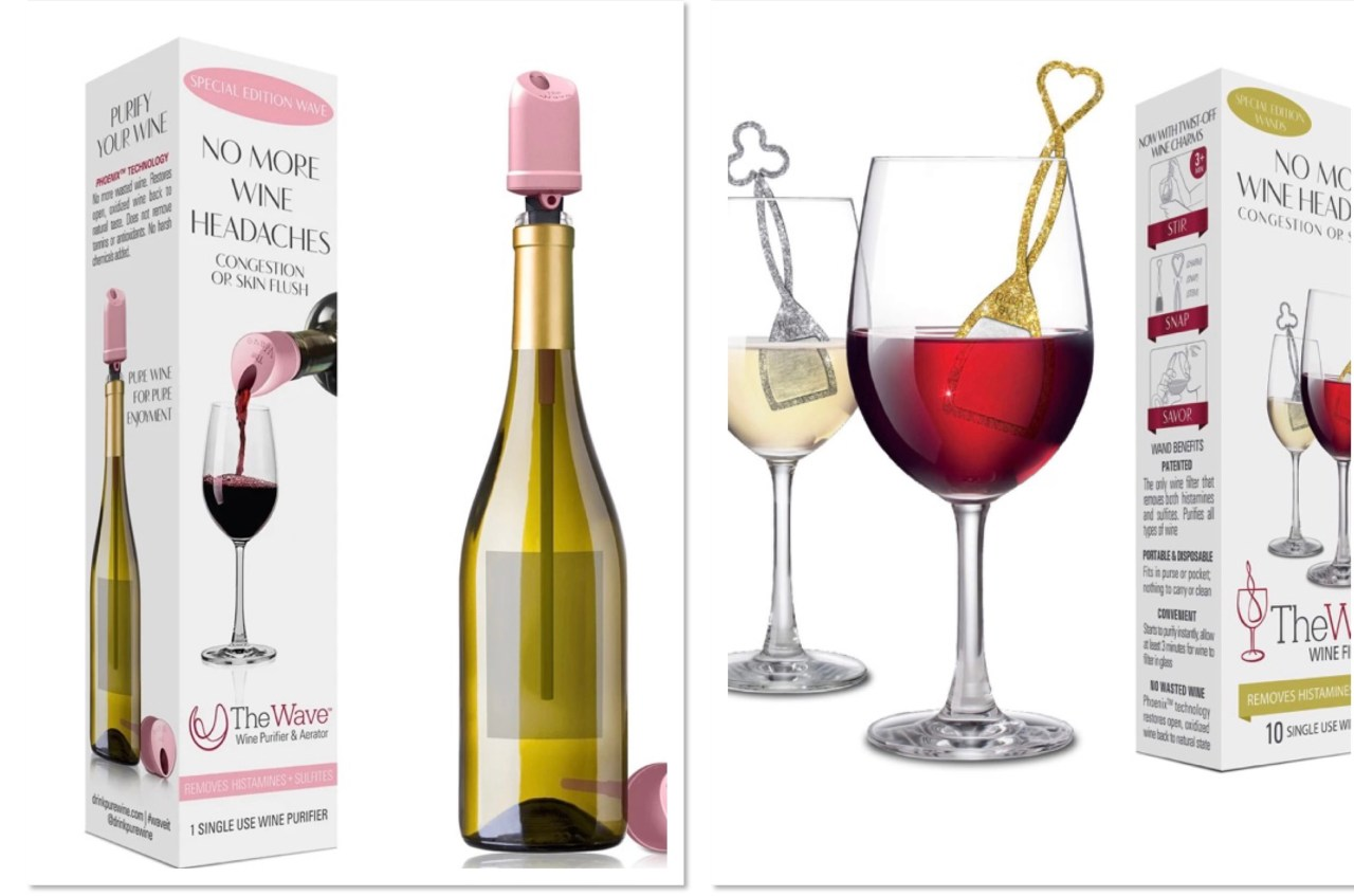 PureWine's The Wave wine purifier and PureWine's wine purifying wands