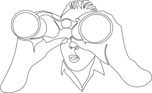 Sketch of person holding binoculars.