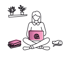 Sketch of a person sitting on floor, typing on a laptop, with books beside them.