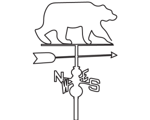 Sketch of weather vane with bear on it.