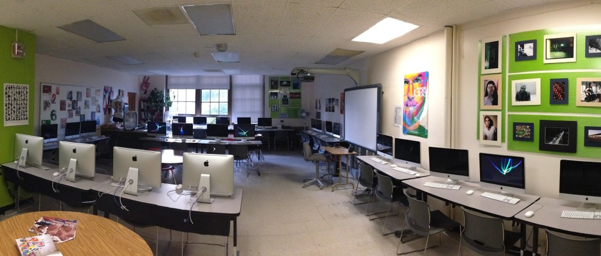 Panoramic shot of my classroom – notice the computers all face the walls and the projector is hard to view from…
