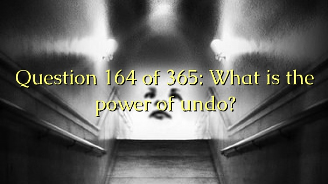Question 164 of 365: What is the power of undo?
