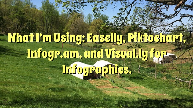 What I'm Using: Easelly, Piktochart, Infogr.am, and Visual.ly for Infographics.