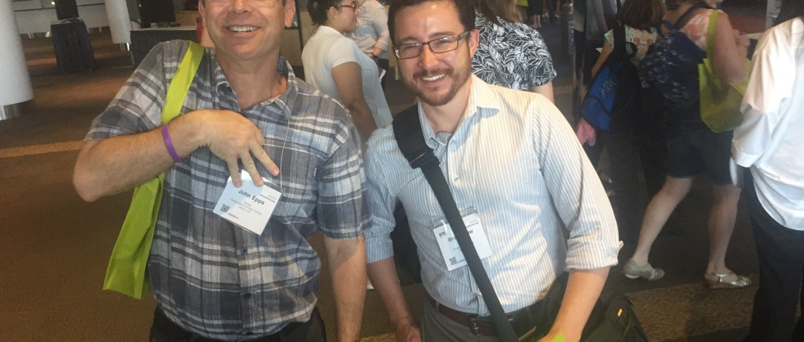 """More DPS peeps out and about at #iste2016. John is making a """"music"""" sign by the way."""