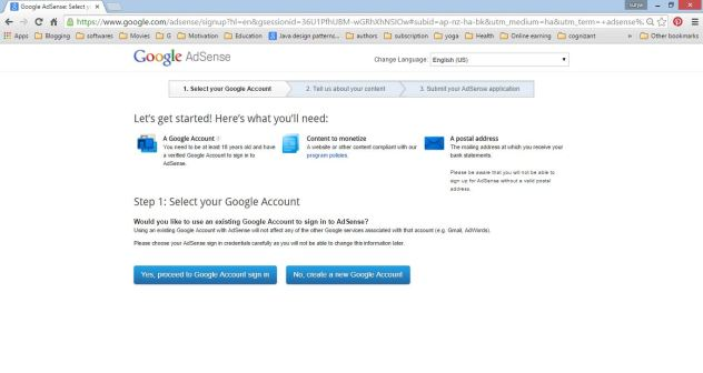 Google Adsense account creation Select an Account