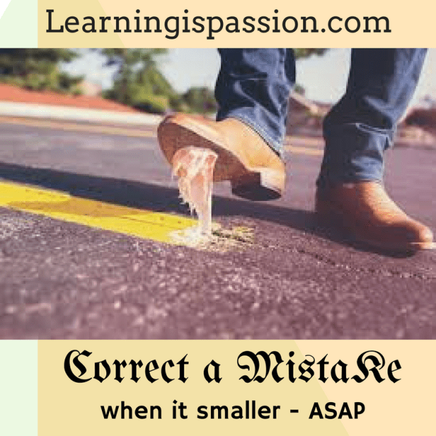 Correct a mistake when it is smaller in size