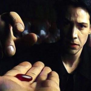 Neo elige la píldora roja en Matrix
