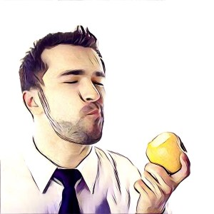 hombre comiendo manzana